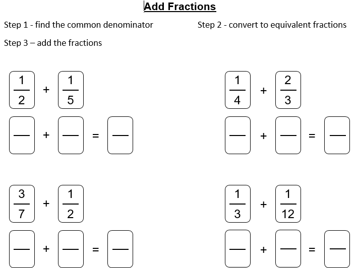 Add, Simplify and Convert Fractions