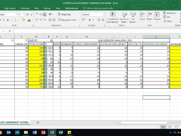 AQA GCSE PE- Controlled Assessment Tracker and marking grid