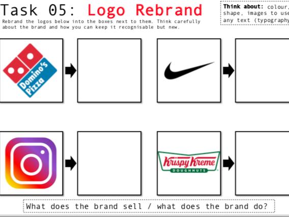 Art/Graphic Design Worksheets X3 - Logos SELF-DIRECTED
