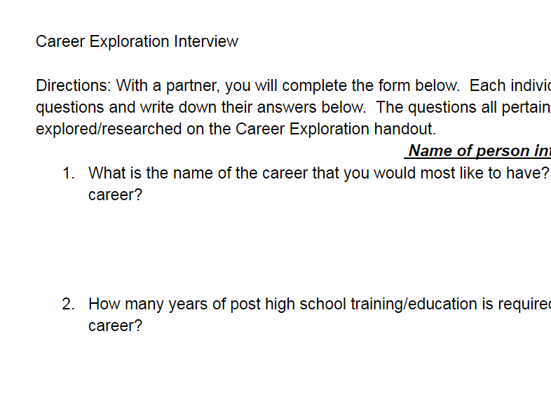 Career Exploration Interview Activity