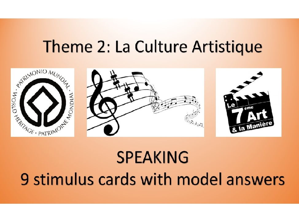 Theme: La Culture Artistique- Stimulus cards and answers- AS French