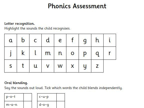 Baseline Phonics Assessment - Individual recording sheet and flashcards