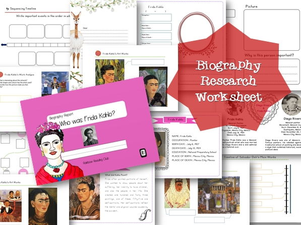 Biography Research Report / Frida Kahlo Biography worksheet