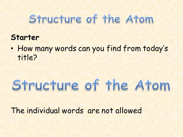 AQA Chemistry Topic 1: Structure of the Atom