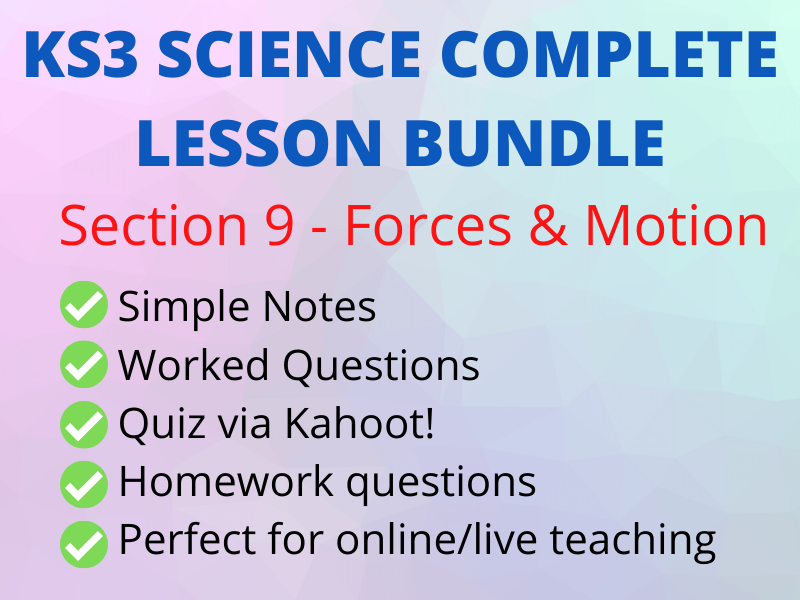 KS3 Forces & Motion - Perfect Online/live lesson incl Kahoot!