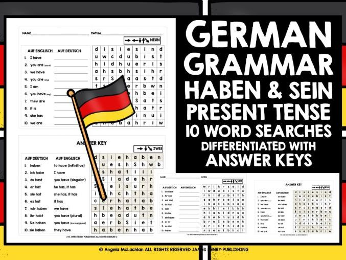 GERMAN GRAMMAR HABEN & SEIN WORD SEARCHES