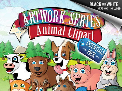 Animal Clip Art: Essentials Pack - Dog, Cat, Cow, Horse, +more