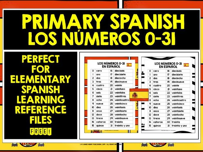 SPANISH NUMBERS 0-31 REFERENCE MAT