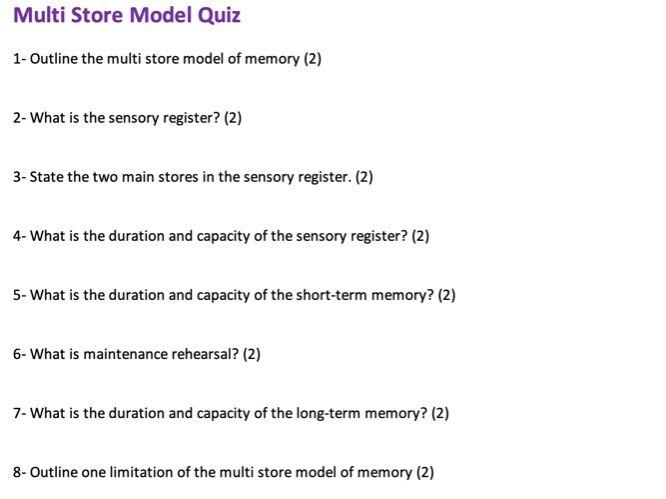 AQA A Level Psychology Memory Quiz (Multi-Store Model)