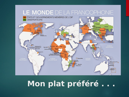 KS3 KS4 French - Mon Plat Préféré / My Favourite Food - Reading Activity - Francophonie