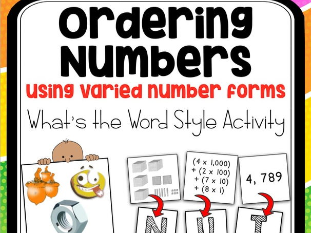 Ordering Numbers Sorting Activity - What's the Word style game