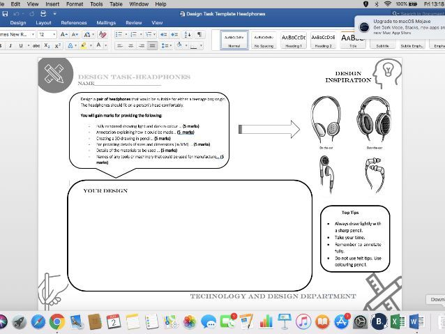 Design task worksheets - Suitable for covering Technology and Design lessons