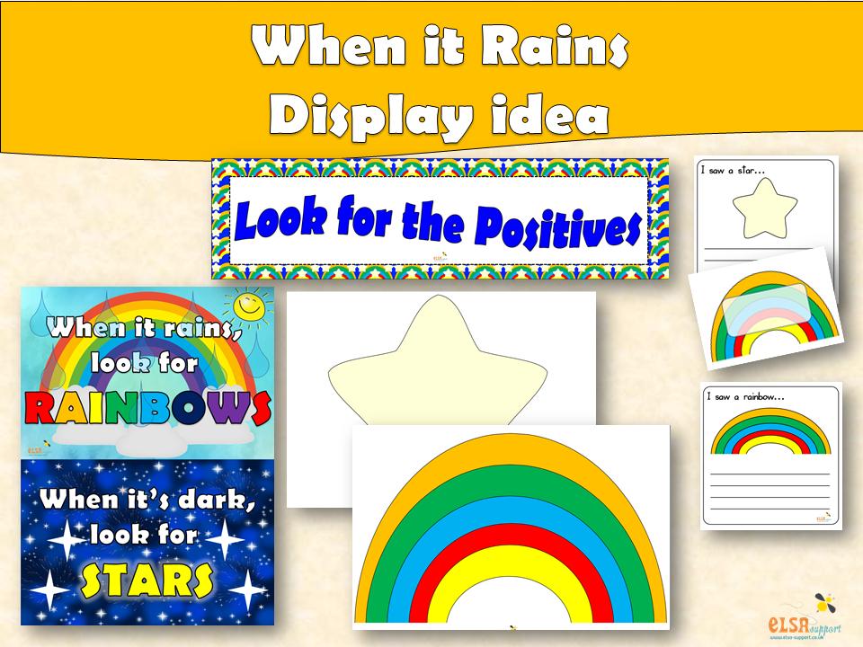 ELSA SUPPORT When it rains - display idea, positivity, PSHE, Self esteem