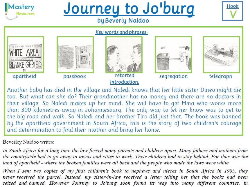 Journey to Jo'burg by Beverly Naidoo Comprehension KS2