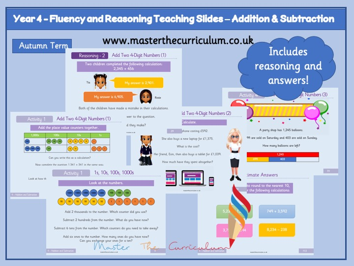 Year 4 - Editable Addition and Subtraction Teaching Slides - White Rose Style