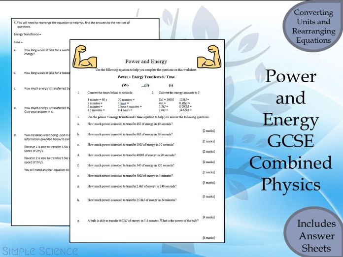 GCSE Physics Paper 1  -  Power and Energy Transferred Calculations Worksheet with Answers