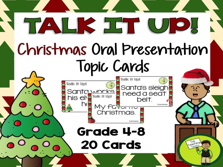 20 Christmas Speech Topic Cards for Public Speaking Oral Presentations
