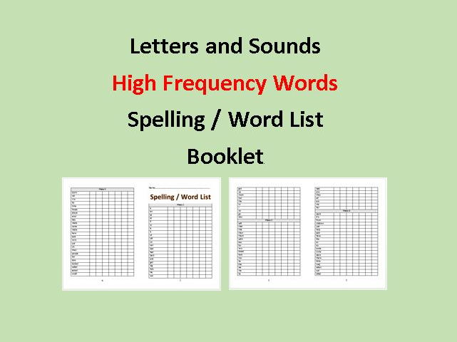 Letters and Sounds High Frequency Spelling / Word List Booklet