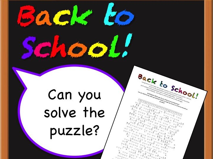 Back to School Cryptogram Puzzle