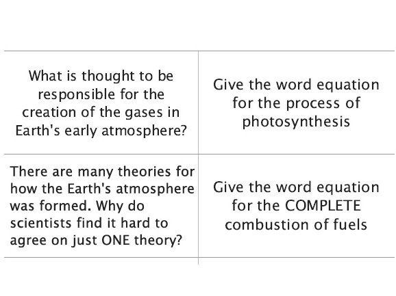 AQA GCSE Chemistry - C14 – The Earths Atmosphere flashcards