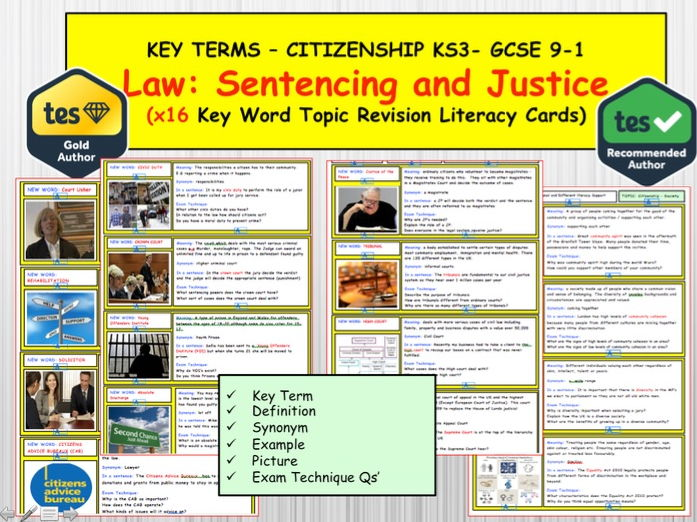 Law, Sentencing and Justice  x16 Key term word Revision topic cards KS3 and GCSE CITIZENSHIP 9-1