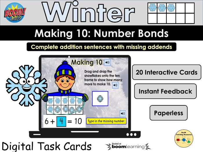 Making 10 Number Bonds to 10 Missing Addends Numbers BOOM Cards Home Learning
