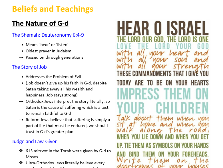 OCR GCSE 9-1 Religious Studies: Complete Notes for JUDAISM