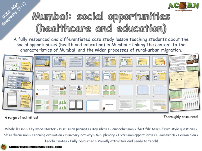 Urban issues and challenges - Mumbai (social opportunities - healthcare and education)