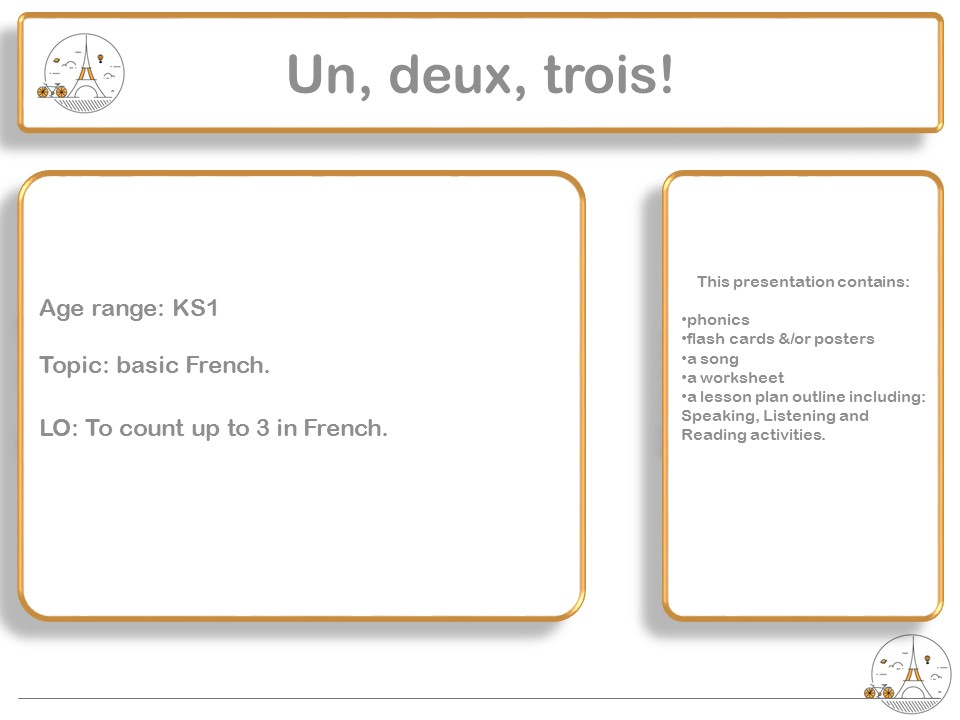 Count up to 3 in French: un, deux, trois ! KS1