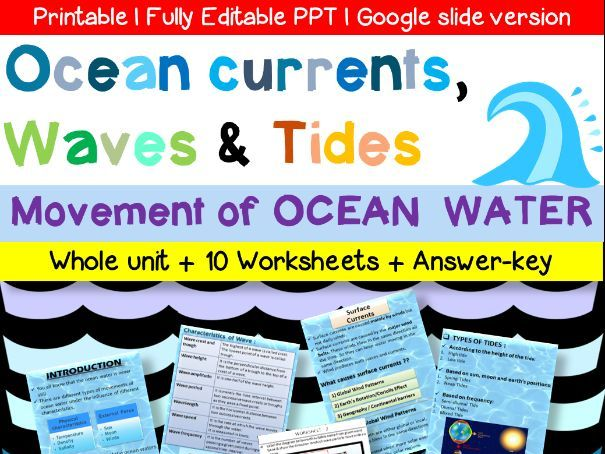 Ocean currents, Waves & Tides Unit with Worksheets