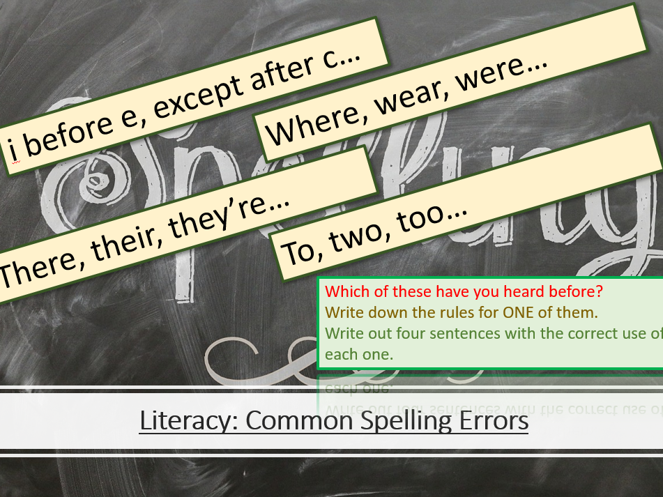 Literacy - Common Spelling Errors
