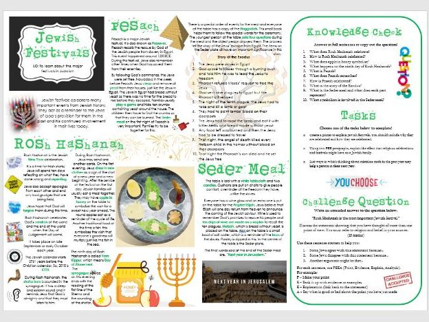 Judaism - Practices: Festivals Task Mat