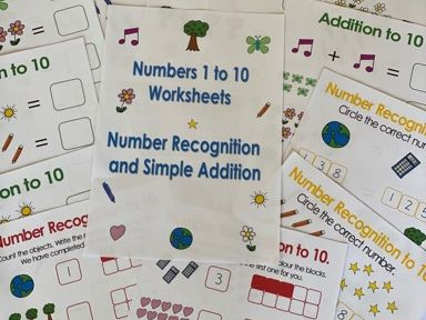 Home Learning KS1 Number Recognition and Simple Addition 12 sheets