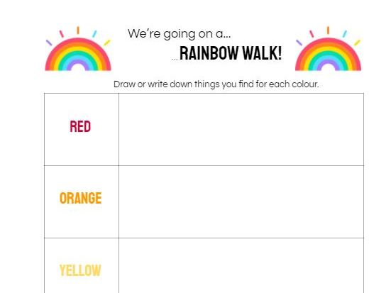 KS1/2 Rainbow Walk Mindfulness Lesson on Awareness  of our Surroundings and Colours in our World