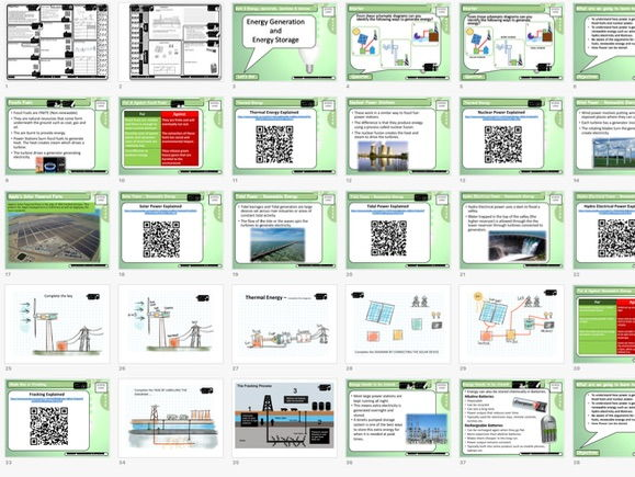 GCSE DT 1 to 9 Theory: Energy Generation & Storage teacher presentation student worksheets