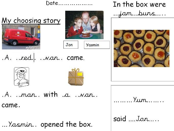J, v, w, x, y revision - choosing story - Using sounds to scribe simple words.