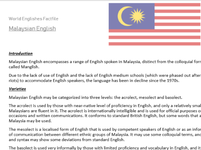 GLOBAL ENGLISH - Malaysian English Factfile (AQA-A-LEVEL-ENGLISH LANGUAGE)
