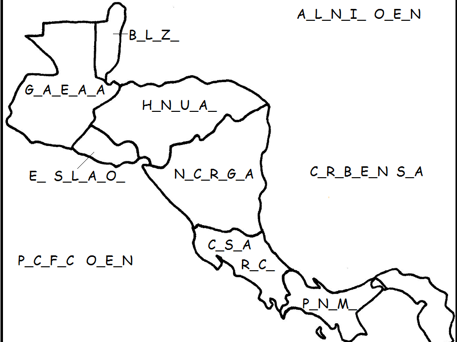Central America - Fill in the Blanks on the map
