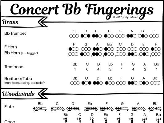Concert Bb Band Fingerings for all Instruments (Poster or Cheat Sheet)