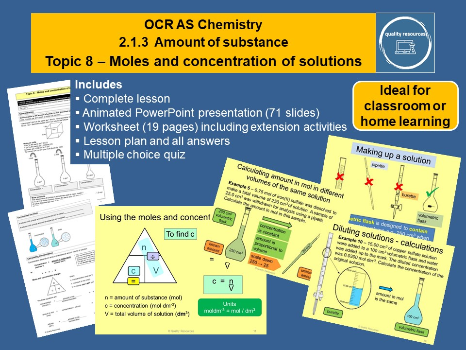 Moles and concentration of solutions OCR AS Chemistry