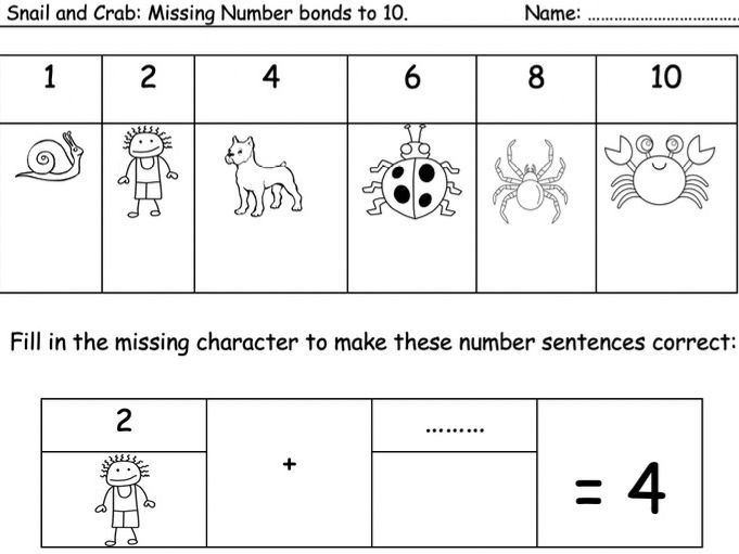 Snail and Crab number bonds to 10, 20