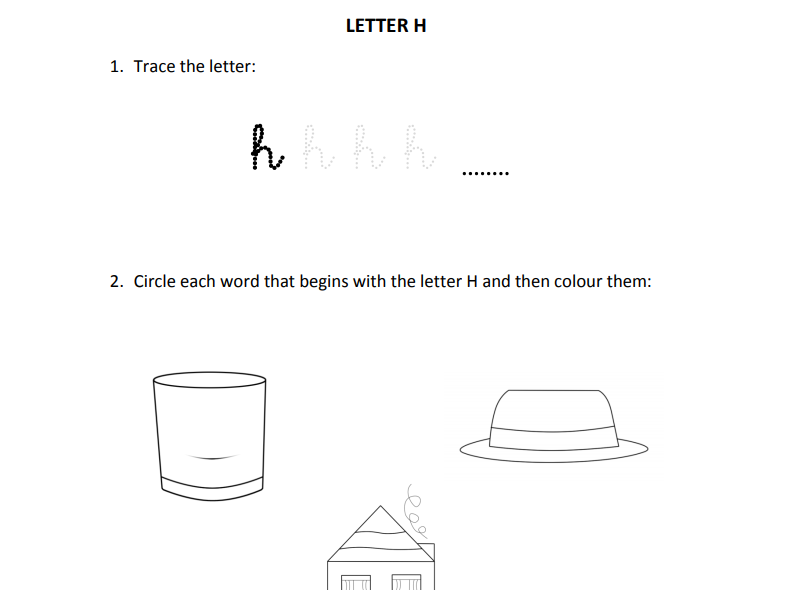 Learning letter H for Reception students