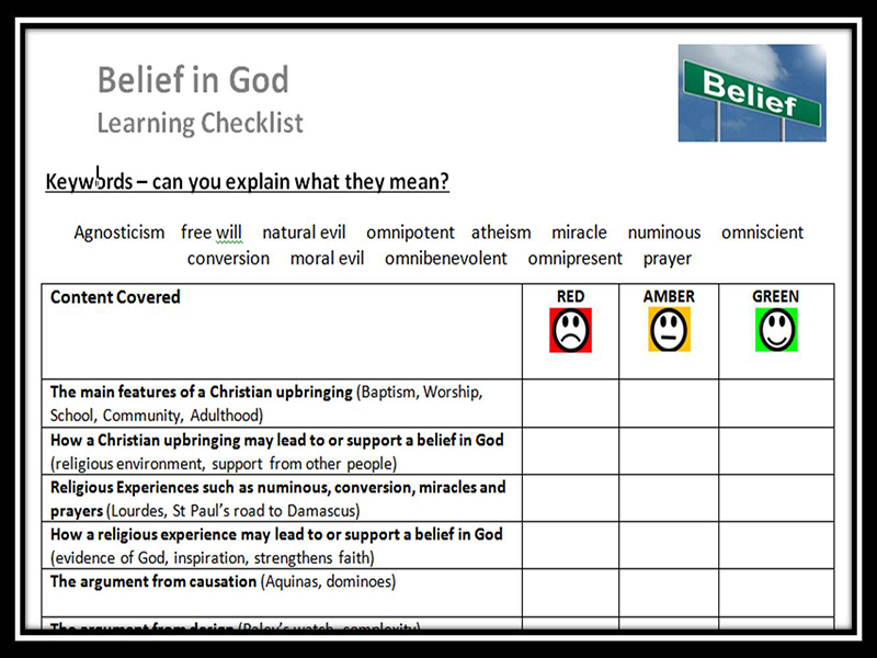 Learning Checklist: Belief in God