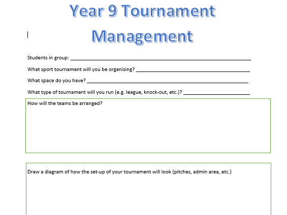 Student Tournament Management Worksheet