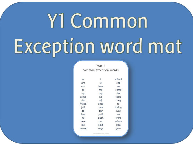 Year 1 Common exception word mat