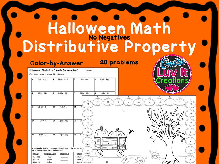 Halloween Fall Distributive Property Bundle Maze & Color by Number Coloring Page