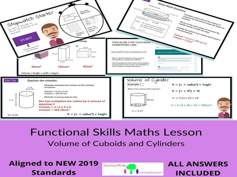 Functional Skills Maths-FULL LESSON -VOLUME OF CUBOIDS AND CYLINDERS