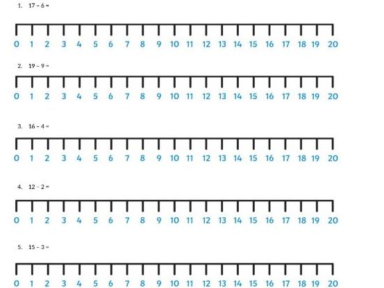 KS1 Subtraction by Number Line