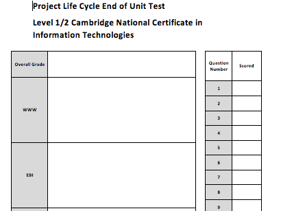 OCR Nationals Information Technologies Phases of a Project Life Cycle and Planning Tools Assessment