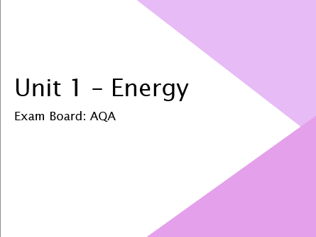 AQA GCSE Physics 1 - Energy Overview Revision